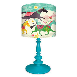 """Wild Horses by Helen Dardik - Helen Dardik - """"Wild Horses"""" Table Lamp for Kids' Rooms or Lamp Shade by Itself $138 for entire lamp, $69 shade only (choose from 6 base color shades)"""
