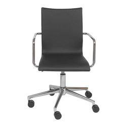 Euro Style - Euro Style Madge Office Chair 17229BLK - You can't get any more classic than chromed steel and black. The Madge Chair features durable chromed steel frames and black leatherette over foam for a very upmarket look. They also have a stunning walnut veneer on the back of the seat.