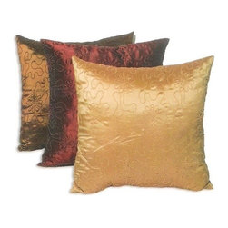 """Canaan - Ferina Silk-Like Brown , Merlot, Gold with Scrolling Lines Pattern Print Pillow - Ferina silk like brown, merlot, gold with scrolling lines pattern print 18"""" x 18"""" throw pillow. Measures 18"""" x 18"""" made with a blown in foam. These are custom made in the U.S.A and take 4-6 weeks lead time for production."""