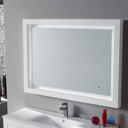 "Fresca Platinum Due 47"" Bathroom Mirror FPMR7538WH - White gloss lacquered finish"