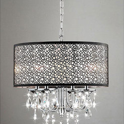 Indoor 4-Light Chrome/Crystal/Metal Bubble Shade Chandelier - The clear, crystal and metal bubble shade adds a touch of elegance to this lighting fixture and coalesces style with elegance.