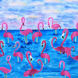 USA - Flamingo Roost rug, 60x36 - Durable 20 0z. tight loop carpet  with  non skid rubber backing and a black edge binding. My art images are permanently applied by dye sublimation and wash with mild soap and water. Rugs are approx. 3/8 inch thick. Contact for free personalizing