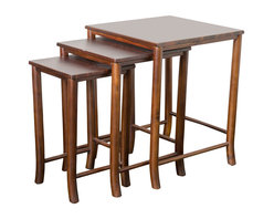 Great Deal Furniture - Madison Mahogany Wood Nesting Table (Set of 3), Red - Whether you use them all together or separately around the house, the Madison nesting tables are multi-functional while still being stylish and convenient.