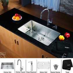 Kraus - 30 in. Single Bowl Kitchen Sink and Faucet with Soap Dispenser - Add an elegant touch to your kitchen with unique Kraus kitchen combo