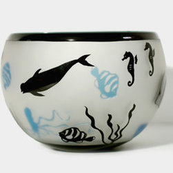 Aqua/Black Sea Life Bowl - This beautiful hand blown glass bowl mixes aqua and black sea creatures with a playful effect.