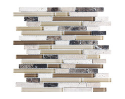 """Rocky Point Tile - 4"""" x 6"""" Sample - Bliss Cappucino Random Strip Glass and Stone Mosaic Tiles - Bring the outside inside. Earthy browns and khakis give this strip tile a homey feel that will warm up your kitchen or bathroom instantly. Create an inviting backdrop for your indoor herb garden or place it behind a natural stone or butcher block countertop for a beautiful, natural effect."""