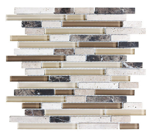 "Rocky Point Tile - 4"" x 6"" Sample - Bliss Cappucino Random Strip Glass and Stone Mosaic Tiles - Bring the outside inside. Earthy browns and khakis give this strip tile a homey feel that will warm up your kitchen or bathroom instantly. Create an inviting backdrop for your indoor herb garden or place it behind a natural stone or butcher block countertop for a beautiful, natural effect."