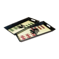 Elk Lighting Harlequin Rooster Tray - Set of 2 - When these feisty birds show up on your table, the Harlequin Rooster Tray - Set of 2 from Elk Lighting steal the show. The distressed black exterior and rectangular shape make the trays an ideal dramatic setting for appetizers. If you'd rather appreciate their pluckiness from afar, they're interesting enough to use as accent pieces in your home. Either way, they provide an edgy element of fun.Dimensions:Small tray: 21.5W x 11.25D x 2H inchesLarge tray: 24.25W x 13.5D x 2H inchesAbout E.L.K. LightingIn 1983, Adolf Ebenstein, Jonathan Lesko, and Russell King combined their lighting expertise to form E.L.K. Lighting Inc. From the company's beginning in eastern Pennsylvania, it has become a worldwide leader featuring manufacturing facilities and showrooms in the U.S. and abroad. Award-winning designs and state-of-the-art engineering give their lighting outstanding quality and value and has made E.L.K. the choice of such renowned places as the Historic Royal Palaces of England and George Vanderbilt's Biltmore Estates. Whether a unique custom design or one of their designer lines, all products are supported by highly trained technical and customer service teams. A commitment to providing superior lighting products with unmatched customer satisfaction remains at the heart of the E.L.K. family tradition.Please note this product does not ship to Pennsylvania.
