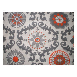 """Close to Custom Linens - 18"""" California King Bedskirt Gathered Rosa Orange Grey Geometric - Rosa is a contemporary floral in grey and orange on a neutral beige linen-textured background"""