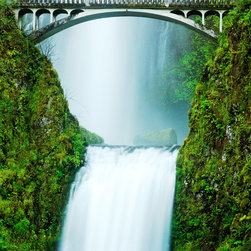 PrintedArt - Multnomah Falls - Print is made with archival pigment inks for best color saturation and contrast with a 75-year guarantee against fading or discoloring. Mounted on light-weight but rigid aluminum dibond board to create a float-on-the-wall piece of art. Also available face-mounted with acrylic.