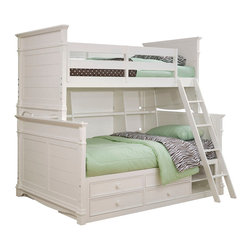 Lea Industries - Lea Hannah Bunk Bed with Storage and Bookcase in White - Twin over Full - The Hannah collection by Lea is sure to look great in any girl's room with its soft curves, shaped pilasters, finessed lines, scalloped details, and casual hardware. This collection is offered in a crisp White finish and is crafted from solid hardwoods and painted wood products. The Hannah collection offers many different storage that are perfect for any size room. With the updated country classic styling of the Hannah collection it is sure to be a great fit for your daughter's bedroom! with roots that stretch all the way back to 1869, Lea Industries has been adding its signature style and design to homes around the United States for more than a century. Children's furniture makes up the cornerstone of this topnotch manufacturer's lineup, and Lea has always managed to produce functional, modern - yet sophisticated - furniture for children. Furniture that bears the Lea name is always high quality, versatile and attractive.