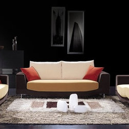 Lioni Two-Toned Fabric Sofa Set F59 - This three pieced fabric sofa set features an ultra modern two toned design and its refreshing coloring will instantly bring warmth to your living room decor.