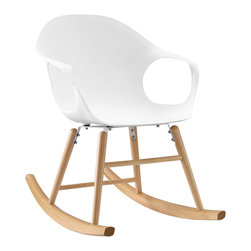 LexMod - Swerve Rocking Chair in White - Turn the tide on boring furnishings with the Swerve rocking chair. Designed for those who appreciate fluid spacial elements, Swerve delivers both a sense of continuity and movement in this immensely ambitious piece. Fashioned from molded plastic and outfitted with a solid wood rocker base, Swerve is a comfortable and generously supportive rocking chair perfect for  nursery rooms and lounge areas.