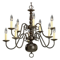 Progress Lighting - Progress Lighting P4358-20 Americana 10 Light Chandelier In Antique Bronze - Progress Lighting P4358-20 Americana 10 Light Chandelier In Antique Bronze