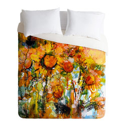 DENY Designs - Ginette Fine Art Abstract Sunflowers Duvet Cover - Turn your basic, boring down comforter into the super stylish focal point of your bedroom. Our Luxe Duvet is made from a heavy-weight luxurious woven polyester with a 50% cotton/50% polyester cream bottom. It also includes a hidden zipper with interior corner ties to secure your comforter. it's comfy, fade-resistant, and custom printed for each and every customer.