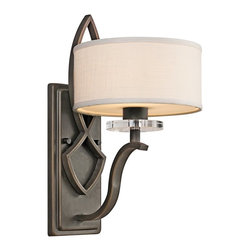 KICHLER - KICHLER Leighton Transitional Wall Sconce X-ZO87154 - This Kichler Lighting wall sconce from the Leighton Collection features a satin etched glass diffuser paired with white fabric drum shade and an Olde Bronze finish. The unexpected crystal accent is an elegant final touch.