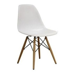 Fine Mod Imports - Wood Leg Dining Chair in White - White ABS frame material. 18 in. W x 19 in. D x 32 in. HThe Wood leg Dining Chair is a truly comfortable chair, it has a high flexible back with a deep seat pocket supported by an elegant wooden and wire base.