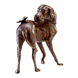 """Joshua Marshal - Rubbed Red 9"""" Dog And Butterfly Sculpture - Rubbed Red 9"""" Dog And Butterfly Sculpture"""