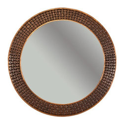 Premier Copper Products - 34 in. Hand Hammered Round Copper Mirror with - Configuration: Round. Design: Hammered Copper Surface with Hand Hammered Braid Design. Color: Oil Rubbed Bronze. Inner Dimension 26 in. x 26 in. x 1 in.. Outer Dimension: 34 in. x 34 in. x 1 in.. Installation Type: Wall Mount. Material Gauge: Industry Best (18 Gauge Wrapped Around MDF Plywood). Hand Made. Mirror: Included. 100% Recyclable. Composition: 99.7% Pure Recycled Copper. Lead Free (