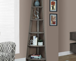 Monarch Specialties - Monarch Specialties Dark Taupe Reclaimed-Look 72 Inch Corner Accent Etagere - Add the perfect corner piece to any room with this dark taupe reclaimed wood-look accent ?tag?re complete with five tray style shelves. This contemporary piece that blends well with any decor, will provide you with additional display space without sacrificing style.
