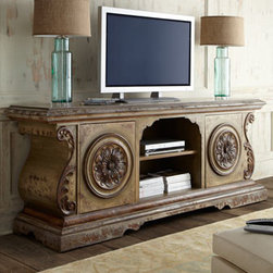 Horchow - Lana Chest - Ornate chest embellished with hand-carved scrolls and medallions keeps entertainment necessities organized and at the ready as well as providing storage and display space. Handcrafted of mixed hard and soft woods including oak. Hand-painted finish. ....