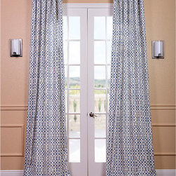 EFF - Nairobi Denim Printed Cotton Curtain Panel - This Nairobi-inspired denim-printed curtain panel is made from 100 percent cotton and has a weighted hem,so it hangs perfectly. The blue-and-white pattern brings a cheerful aspect to any room,and you can select the length that fits your window.