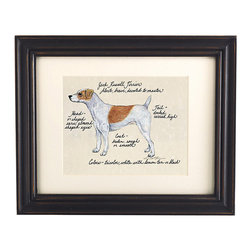 Ballard Designs - Jack Russell Brown/White Dog Print - Our Jack Russell Brown/White Dog Print was created by the dog-loving, husband and wife team of Vivienne and Sponge. The Jack Russell is known for being alert, brave and devoted. Each Jack Russell portrait is hand colored and embellished with notes on the breed's special characteristics. Printed on antiqued parchment, signed by the artists and framed in antique black wood with eggshell mat and glass front. Jack Russell Brown/White Dog Print features:Hand colored & signed. Printed on parchment. Eggshell mat. Antique black frame