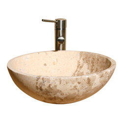 The Allstone Group - V-VR166 Sahara Limestone Honed Vessel Sink - Natural stone strikes a balance between beauty and function. Each design is hand-hewn from 100% natural stone.  Vessel sinks can be the most inspiring feature in a bathroom, adding style and beauty to any bath space.  Stone not only is pleasing to the eye but also has the feel of something natural and solid.