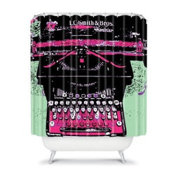 DENY Designs Romi Vega Typewriter Shower Curtain - Made from woven polyester, the DENY Designs Romi Vega Typewriter Shower Curtain puts all other curtains to shame. With a designer print and bold colors, this woven polyester shower curtain will have your friends green with envy. About DENY DesignsDenver, Colorado based DENY Designs is a modern home furnishings company that believes in doing things differently. DENY encourages customers to make a personal statement with personal images or by selecting from the extensive gallery. The coolest part is that each purchase gives the super talented artists part of the proceeds. That allows DENY to support art communities all over the world while also spreading the creative love! Each DENY piece is custom created as it's ordered, instead of being held in a warehouse. A dye printing process is used to ensure colorfastness and durability that make these true heirloom pieces. From custom furniture pieces to textiles, everything made is unique and distinctively DENY.