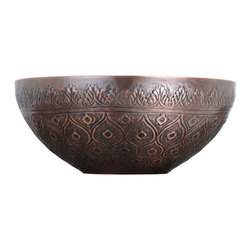 Hudson Reed - Traditional Pattern Round Copper Vessel Sink - Classic Bathroom Lavatory Basin - This attractive copper vessel sink will become the focal point of any bathroom. Featuring a beautifully designed pattern on the exterior and a smooth finish on the interior, this sink has been constructed from double-wall copper to ensure long lasting durability.