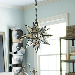 Ballard Designs - Moravian Star Pendant - UL listed for damp locations. Hand welded metal frame. Antiqued mercury glass panes. Originally a Christmas decoration from the 19th-century, the Moravian star is still popular today for its strong geometric form and whimsical sparkle. Larger than most pendants out there, our Moravian Star Pendant is perfect anywhere you want a special focal point. Moravian Star Mercury Glass Pendant features: . . .