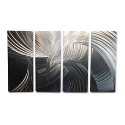 Miles Shay - Metal Wall Art Decor Abstract Contemporary Modern Sculpture - Tempest 36x63 - This piece is all silver and grey. Any other color you see is a reflection or shadow in the room.