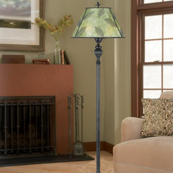 Quoizel - Quoizel MC410F Mica Leaf Transitional Floor Lamp - Features a green mica shade with leaf design and a bronze patina base.