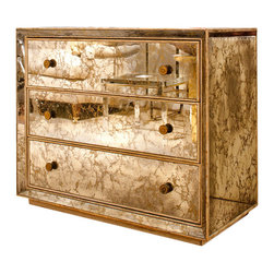 1940s Marbled Mirror Chest of Drawers - This antiqued mirrored chest of drawers with brass pulls isperfection!  You simply can't go wrong with this smart and sexy piece.