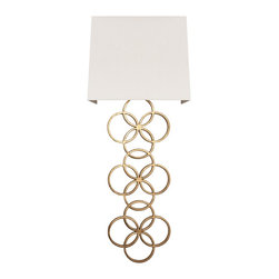 Worlds Away - Worlds Away Large Gold Leaf 2-Light Circles Wall Sconce HARRIET G - Large gold leaf circles sconce with white linen shade. Ul approved for two 40 watt candelabra bulbs.