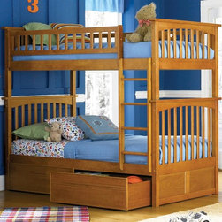Atlantic Furniture - Columbia Twin Over Twin Bunk Bed w Flat Panel - NOTE: ivgStores DOES NOT offer assembly on loft beds or bunk beds. Includes upper and lower panels, rails, clip-on ladder, 2 slats and flat panel drawers. Mattress not included. Made of premium, eco-friendly hardwood with a 5-step finishing process. Solid hardwood Mortise & Tenon construction. 26-Steel reinforcement points. Designed for durability. Guard rails match panel design. Meet or exceed all ASTM bunk bed standards, which require the upper bunk to support 400 lbs.. Pictured in Caramel Latte finish. 1-Year manufacturer's warranty. Clearance from floor without trundle or storage drawers: 11.25 in.. 74 in. L x 22 in. W x 12 in. H. Flat panel drawers: 74.75 in. L x 40.38 in. W x 11.63 in. H. Bunk Bed Warning. Please read before purchaseThe Columbia bunk bed features a classic Mission style design with subtle curves and solid post construction.