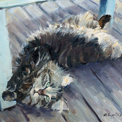 """Buddy"" Artwork - This painting was inspired by a good friend's cat named Buddy. He is the most amazing cat I have ever met, mellow, loving, playful. I caught this pose when he was relaxing with us on her deck while we sipped on a glass of wine. It is rendered in oil on linen canvas."