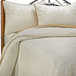 Nostalgia Home - Vallejo Ivory King Pillow Sham - This king pillow sham is the ideal way to finish off your Vellejo Ivory bedding. It features a floral bouquet quilted by hand around a floral medallion on an ivory ground, with ecru contrast stitching that coordinates perfectly with the bedspread.