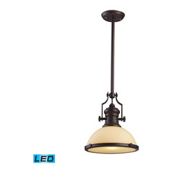 Elk Lighting - Landmark Lighting Chadwick 66133-1-LED 1-Light Pendant in OiLED Bronze - LED Off - 66133-1-LED 1-Light Pendant in OiLED Bronze - LED Offering Up To 800 Lumens belongs to Chadwick Collection by Landmark Lighting The Chadwick Collection Reflects The Beauty Of Hand-Turned Craftsmanship Inspired By Early 20Th Century Lighting And Antiques That Have Surpassed The Test Of Time. This Robust Collection Features Detailing Appropriate For Classic Or Transitional decors. White Glass Compliments The Various Finish Options Including Polished Nickel, Satin Nickel, And Antique Copper. Amber Glass Enriches The OiLED Bronze Finish. - LED Offering Up To 800 Lumens (60 Watt Equivalent) With Full Range Dimming. Includes An Easily Replaceable LED Bulb (120V). Pendant (1)