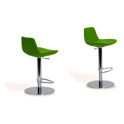 Pera Piston Stools by sohoConcept - With a cool chrome or stainless steel base, this modern piston stool comes upholstered in your choice of 15 colors from black leatherette to pistachio wool. All that beauty and easy height adjusting too.