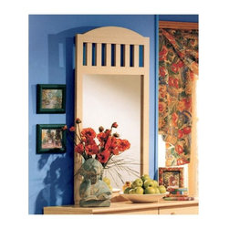 "South Shore - Nutrina Maple Wood Portrait Wall Mirror - A long vertical mirror that gives a room new dimension, this portrait mirror has a gently curved upper frame area contrasted by six wide vertical slates. Smooth reflective glass set in a maple-finished frame that makes a room look larger and lovely. Complete the look of a Nutrina double dresser with the complementary, attachable mirror. It features the wonderful blend of Mission and simple Country styling with a slatted inset and gently curving crest. A light wood stained finish of this Mission style mirror provides a cooling sense of serenity to any room with its blond hue, yet can complement with both ""cools"" and ""warms"" as designated by the accepted color wheel. * Manufactured from eco-friendly, EPP-compliant laminated particle boardcarrying the Forest Stewardship Council (FSC) certification. Ships Ready-to-Assemble. Constructed of particleboard with a laminate finish. 5-year manufacturer's limited warranty. 46"" H x 28"" W x 2"" D"