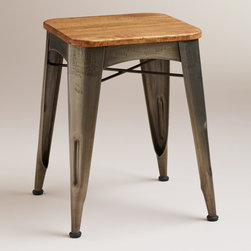 "Brayden Metal and Wood Stool - The wood and steel in this stool evoke the look of the sledgehammer that Miley Cyrus got — ahem — friendly with in her ""Wrecking Ball"" video."