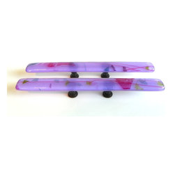 Custom purple artisan furniture handles or pulls - Custom 8 in. art glass cabinet pulls with 2 in. screw placement. Custom glass hardware by Uneek Glass Fusions http://www.uneekglassfusions.com