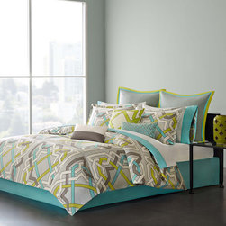 Echo - Echo Status Comforter Set - The Echo Status comforter set has a colorful contemporary design that instantly transforms your bedroom. The abstract geometric design features bold aqua, green, dark grey, and white lines intertwining on the face of the comforter creating a captivating design. Made from 100% cotton sateen, this comforter is machine washable for easy care. The set includes two standard shams and one bedskirt. Face: T300 100% cotton sateen fabric, T180 100% cotton reverse Filling: 100% polyester Bedskirt: 80/20 polyester cotton fabric for the platform, T180 100% cotton fabric for the drop
