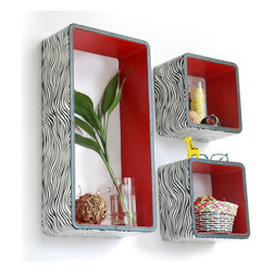Blancho Bedding - [Classic Zebra Stripe] Rectangle Leather Wall Shelf / Floating Shelf (Set of 3) - These rectangle wall cube shelves add a new and refreshing element to your room and can be easily combined with other pieces to create a customized wall space. You can hang them on the wall, or have them stand on table or floor, any way you like. Coming in various colors and sizes, they spice up your home's decor, add versatility, and create a whole new range of storage spaces. Perfect for wall mounting, these modern display floating shelves are sure to delight. Constructed from MDF with a top faux leather wrapping. Fashion forward design has never been so functional. This range of faux leather storage cubes is sure to delight! Easy to mount, easy to love! Attractive shelf boxes give any wall in your home a striking appearance. Arrange in whatever fashion you like - whether it be grouped together or displayed separately. Each box serves as a practical shelf, as well as a great wall decoration.