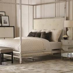Polished Stainless Steel Canopy Bed with Leather Headboard - King- W 82 | L 86 | H 90