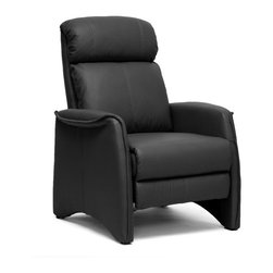 Baxton Studio - Baxton Studio Aberfeld Black Modern Recliner Club Chair - Let the Aberfeld Modern Recliner do all the work as you kick back and relax! More than just a recliner, this living room chair features stylish contemporary detailing in its form and stitching: the black faux leather is soft and supple while the steel mechanism is reliably supportive. To recline, grip the armrests and use your weight to lean on the backrest. Medium-firm foam cushions and black plastic disc feet complete this chair, a new contemporary classic. Made in China; assembly is required. To clean, wipe with a dry cloth. This style is also offered in tan (sold separately).