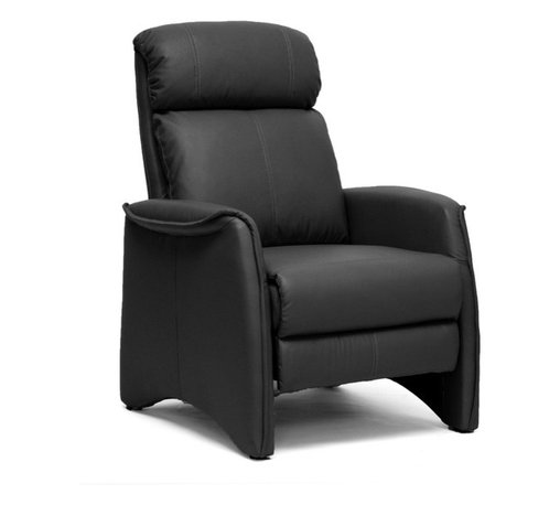 Baxton Studio - Baxton Studio Aberfeld Black Modern Recliner Club Chair - Let the Aberfeld Modern Recliner do all the work as you,k back and relax!  More than just a recliner, this living room chair features stylish,temporary detailing in its form and stitching: the black faux leather is soft and supple while the steel mechanism is reliably supportive.  To recline, grip the armrests and use your weight to lean on the backrest.  Medium-firm foam cushions and black plastic disc feet complete this chair, a new contemporary classic.  Made in China; assembly is required.  To clean, wipe with a dry cloth.  This style is also offered in tan (sold separately). Recliner Dimensions: 41.25 inches high x 31.5 inches wide x 30.9 inches deepseat'sions: 18.25 inches high x 21.5 inches wide x 21.5 inches deep