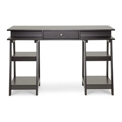 Baxton Studio - Baxton Studio Trenton Dark Brown Modern Desk - While the Trenton Desk is all for getting down to business, it's not about to sacrifice style in the process! We love the open shelving on each leg, allowing for pretty file storage options to be on full display. Additional storage cubbies are built in to the desktop itself as well as a single drawer for keeping necessities in close reach. The Trenton Designer Desk is made by and imported from Malaysian craftsmen with a rubber wood and engineered wood frame finished with dark brown veneer. When it's time to tidy up after a hard day's work, simply wipe the desk's surfaces with a dry cloth. This item is flat packed and requires assembly. Central drawer dimensions: 2 inches high x 13.5 inches wide x 12.5 inches deep