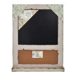 Enchante Accessories Inc - Distressed Wood Framed Wall Message Cork Board & Chalk Bulletin Board, Distresse - This message board features a Distressed Wooden Framed Cork Board / chalkboard combination.